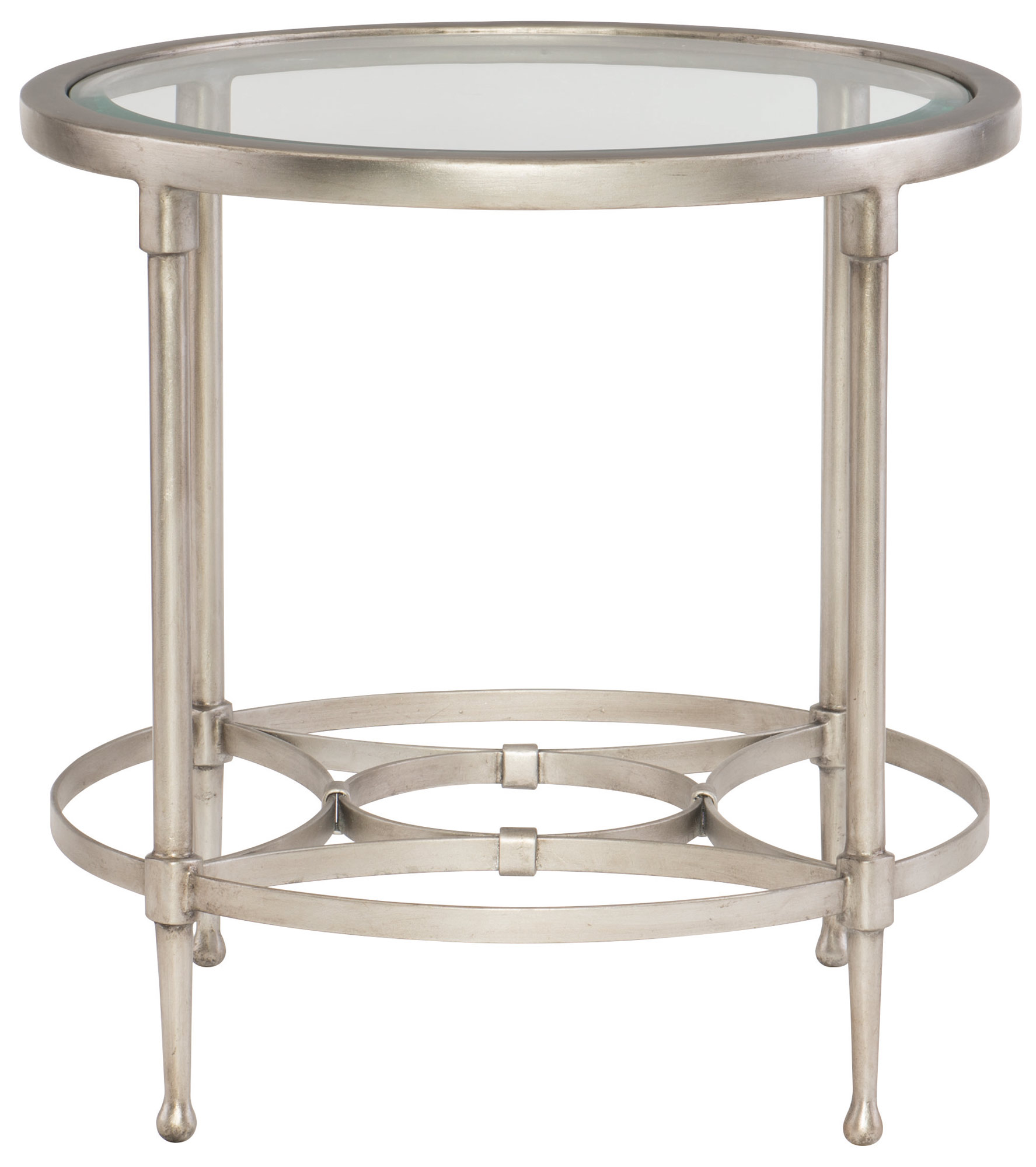 Round Metal End Table With Glass Top Bernhardt Hospitality