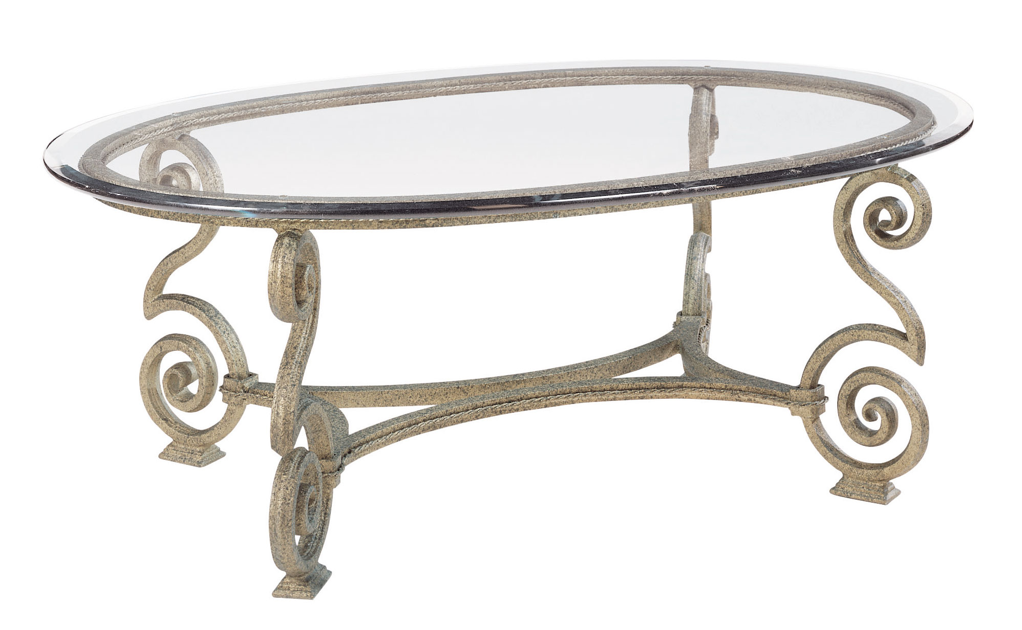 Oval Cocktail Table Glass Top And Base Bernhardt Hospitality