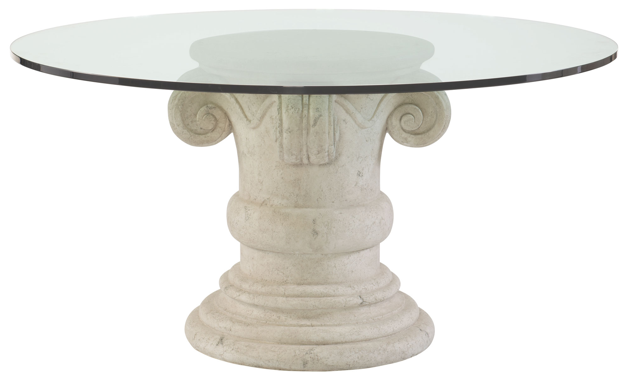 round dining table glass top and pedestal base bernhardt hospitality. Black Bedroom Furniture Sets. Home Design Ideas