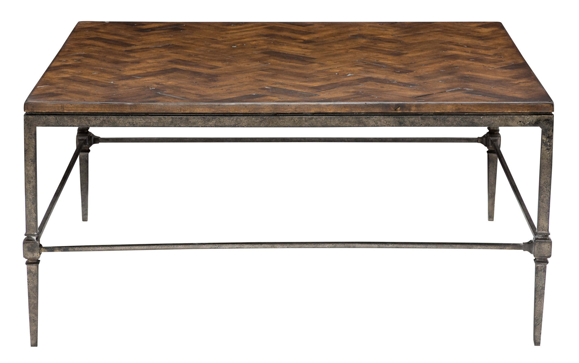Cocktail Table With Wood Top And Metal Base Bernhardt